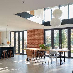 Источник вдохновения для домашнего уюта: большой коридор в стиле модернизм с розовыми стенами, бетонным полом, серым полом, сводчатым потолком и кирпичными стенами
