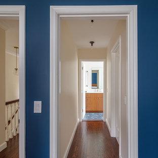 サンフランシスコの小さいトランジショナルスタイルのおしゃれな廊下 (青い壁、濃色無垢フローリング、茶色い床) の写真