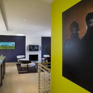 ワシントンD.C.のコンテンポラリースタイルのおしゃれな廊下 (緑の壁、淡色無垢フローリング) の写真