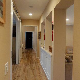 オレンジカウンティの小さいモダンスタイルのおしゃれな廊下 (茶色い壁、ラミネートの床、マルチカラーの床) の写真