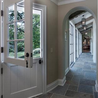 Example of a classic blue floor hallway design in Columbus