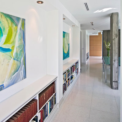 Example of a trendy hallway design in Miami with white walls