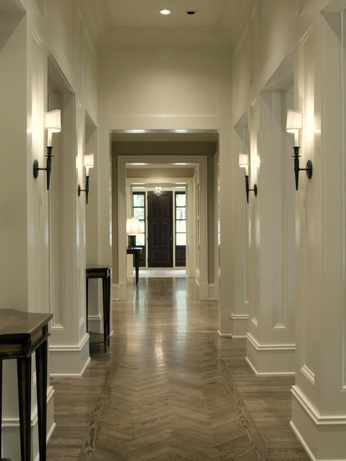 Traditional Dark Wood Floor And Beige Floor Hallway Idea In Atlanta With  White Walls