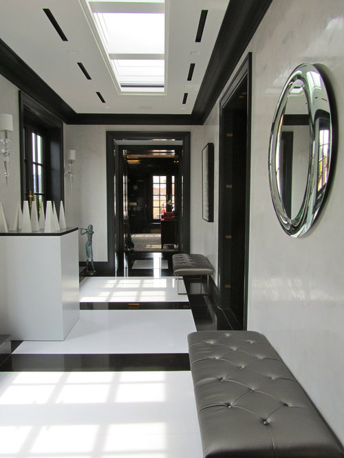 Inspiration For A Modern Hallway Remodel In New York With White Walls And Multicolored Floors