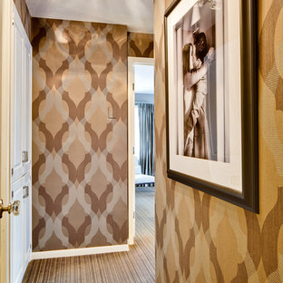 Inspiration for an eclectic carpeted hallway remodel in Minneapolis