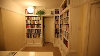 Gloss white bespoke hallway library