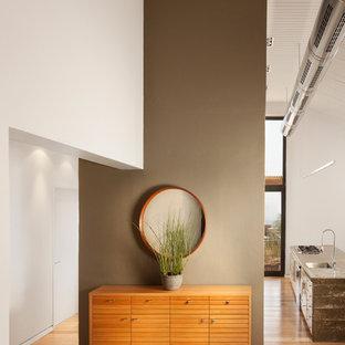 他の地域のインダストリアルスタイルのおしゃれな廊下 (茶色い壁、無垢フローリング) の写真