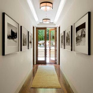 デンバーのトランジショナルスタイルのおしゃれな廊下 (白い壁、濃色無垢フローリング) の写真