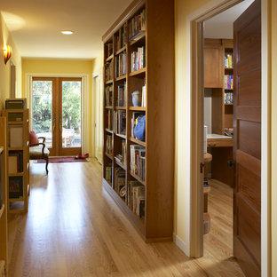 Hallway - contemporary medium tone wood floor hallway idea in San Francisco