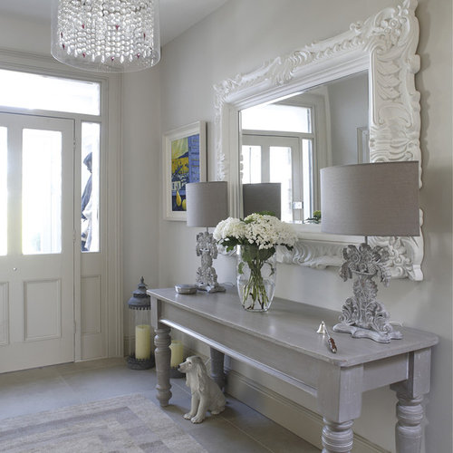 Shabby Chic Design Ideas shabby chic bedroom decorating ideas cabin shabby chic bedrooms Inspiration For A Shabby Chic Style Hallway Remodel In Dublin With Gray Walls