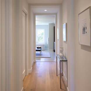 Inspiration for a contemporary medium tone wood floor hallway remodel in Minneapolis with white walls