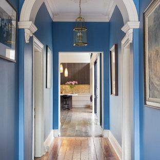 Idéer för att renovera en mellanstor vintage hall, med blå väggar, mellanmörkt trägolv och brunt golv