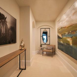 Свежая идея для дизайна: маленький коридор в стиле современная классика с белыми стенами и полом из известняка - отличное фото интерьера
