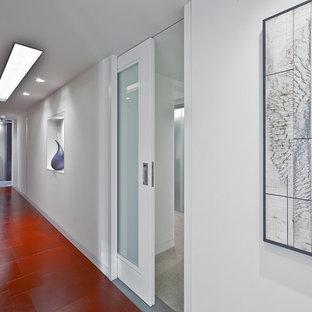 Cette image montre un couloir design de taille moyenne avec un mur blanc et un sol rouge.