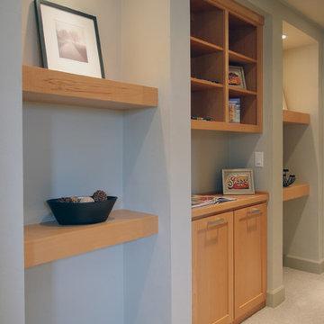 Hallway Storage + Gallery Shelving