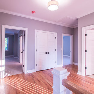 Идея дизайна: маленький коридор в стиле неоклассика (современная классика) с серыми стенами, светлым паркетным полом и бежевым полом
