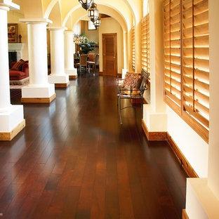 他の地域の中くらいのトランジショナルスタイルのおしゃれな廊下 (白い壁、濃色無垢フローリング、茶色い床) の写真