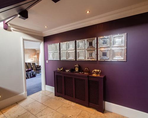 couloir avec sol en terrazzo et un mur violet photos et id es d co de couloirs. Black Bedroom Furniture Sets. Home Design Ideas