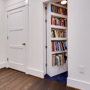 Mid-sized trendy medium tone wood floor and brown floor hallway photo in DC Metro with white walls