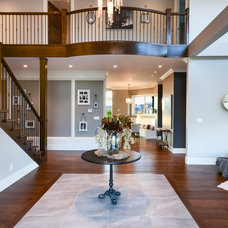 Transitional Hall by Currant Interior Design