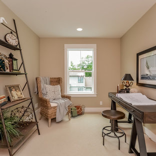 Mid-sized beach style carpeted hallway photo in Grand Rapids with beige walls