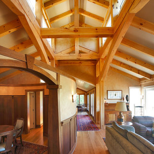 Hallway - rustic medium tone wood floor hallway idea in Bridgeport