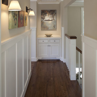 Example of a classic dark wood floor and brown floor hallway design in San Francisco