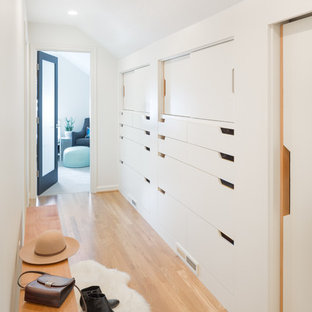 This is an example of a small scandinavian hallway in Portland with white walls and light hardwood floors.