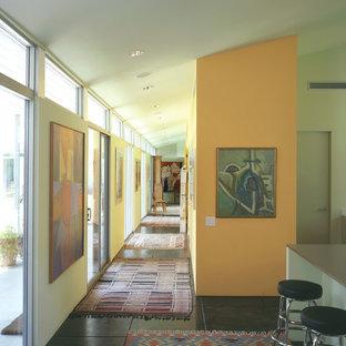オースティンのミッドセンチュリースタイルのおしゃれな廊下 (オレンジの壁、コンクリートの床) の写真