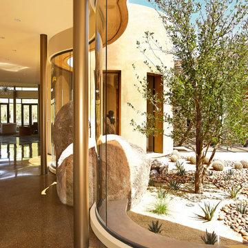 Indian Wells Custom Curved Glass Hallway