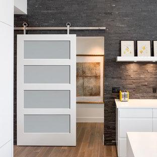 Свежая идея для дизайна: коридор среднего размера в современном стиле с черными стенами, паркетным полом среднего тона и коричневым полом - отличное фото интерьера