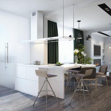Interior of spacious  white studio