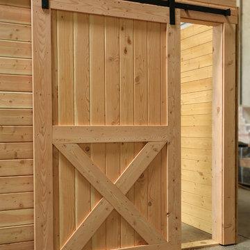 Interior Rustic Barn Door with Crossbuck & Sliding Track Hardware