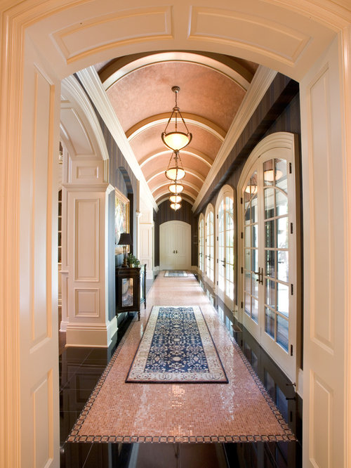 Large Elegant Hallway Photo In Cleveland With Multicolored Floors