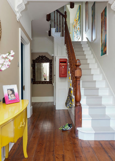 Eclectic Hallway & Landing by Ruby Red Interiors