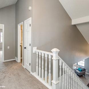 Immagine di un ingresso o corridoio tradizionale di medie dimensioni con pareti grigie e moquette
