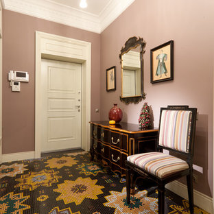 Inspiration for a mid-sized timeless hallway remodel in Moscow with purple walls