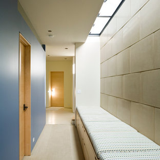 Hallway - contemporary hallway idea in Seattle with blue walls
