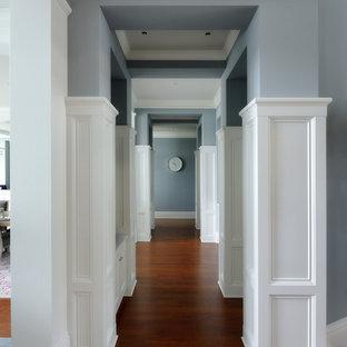 Réalisation d'un grand couloir tradition avec un mur bleu, un sol en bois foncé et un sol marron.