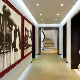 マイアミの大きいコンテンポラリースタイルのおしゃれな廊下 (白い壁、淡色無垢フローリング、黄色い床) の写真