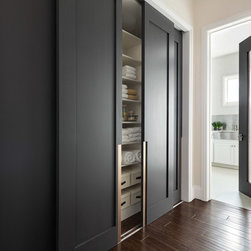 Las Vegas Modern Home - Modern Solid Wood Glass Doors - TruStile Modern Door Collection - TM1000 in MDF with Square Stick (SS) sticking and Flat (C) panel. Two pairs of bypass closet doors feature Chemetal insert.  Laundry room door features 3Form resin insert.