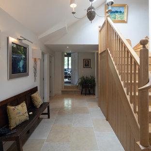 Idéer för en stor klassisk hall, med vita väggar, kalkstensgolv och rosa golv
