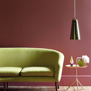 Living Room in Warm Reds and Lime Green