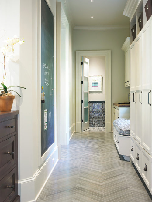 Inspiration For A Timeless Gray Floor Hallway Remodel In Atlanta With Walls
