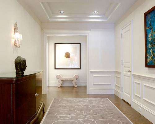 Example Of A Large Transitional Medium Tone Wood Floor Hallway Design In  New York With White Part 40