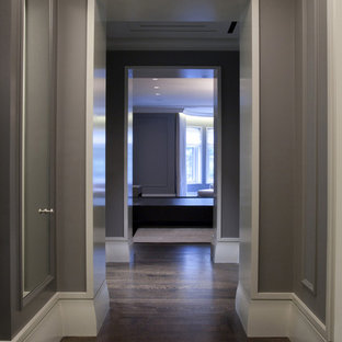 Hallway - mid-sized contemporary dark wood floor and brown floor hallway idea in Chicago with gray walls