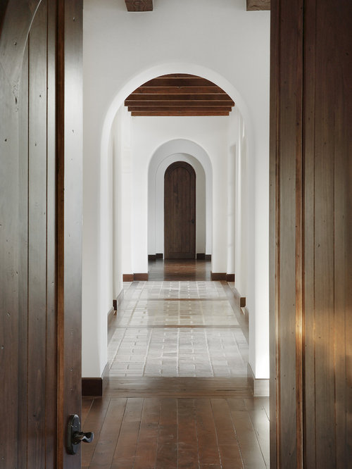 tuscan hallway photo in phoenix with white walls - Matchstick Tile Castle 2016