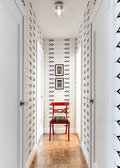 Transitional Hallway & Landing by Allison Lind Interiors