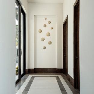 Exempel på en mellanstor modern hall, med vita väggar, klinkergolv i porslin och flerfärgat golv