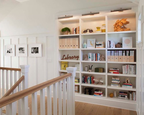 bookcase lighting ideas example of a country hallway design in san francisco with white walls and bookcase lighting ideas
